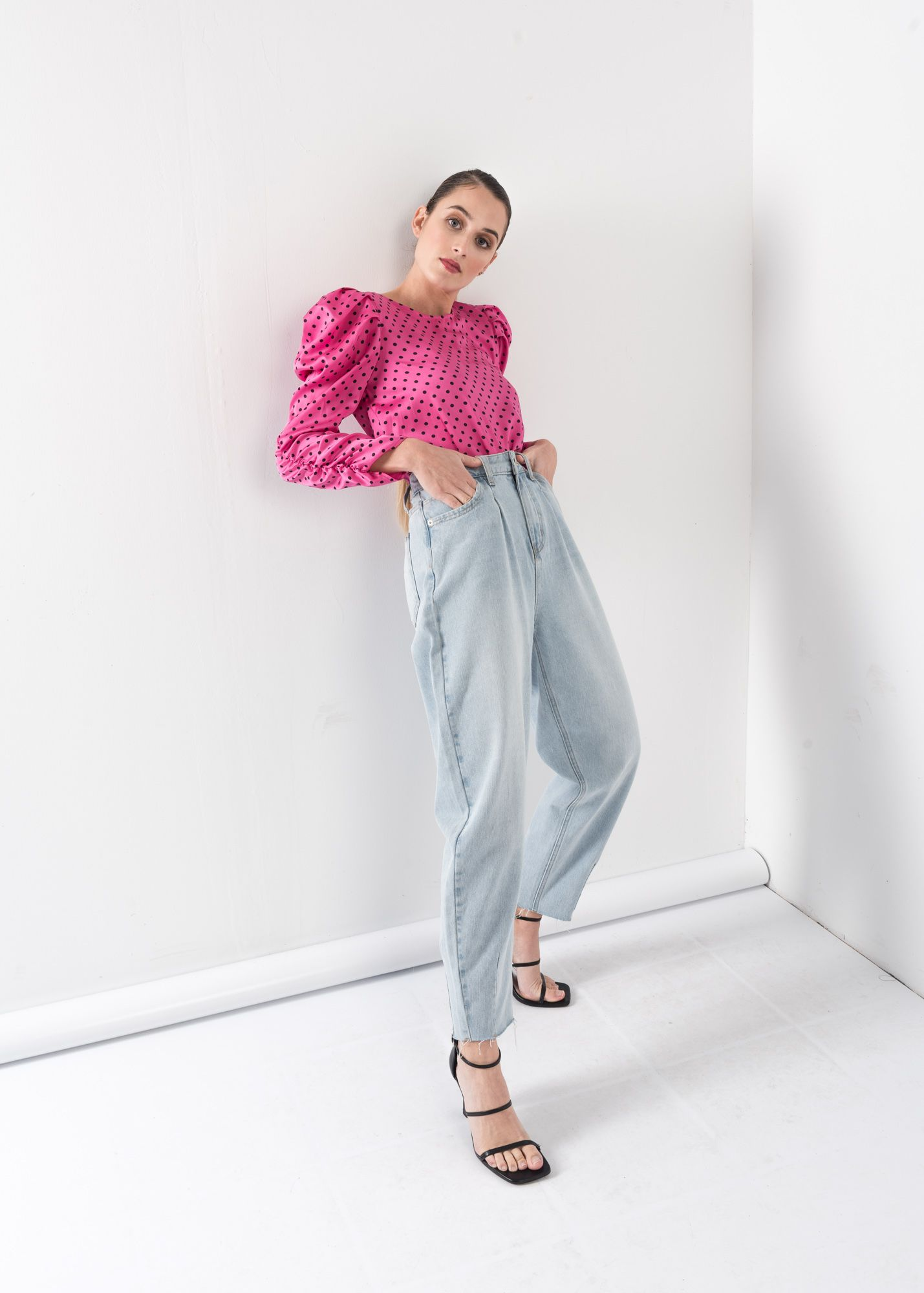 PRINTED BLOUSE WITH PLEATS