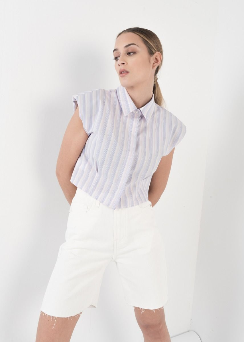 STRIPED SHIRT WITH SHOULDER PADS